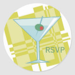 Cocktail Party Modern Martini Happy Hour RSVP Classic Round Sticker
