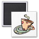 Steaming Coffee Tea Cup Starbucks Polka Dot Magnet